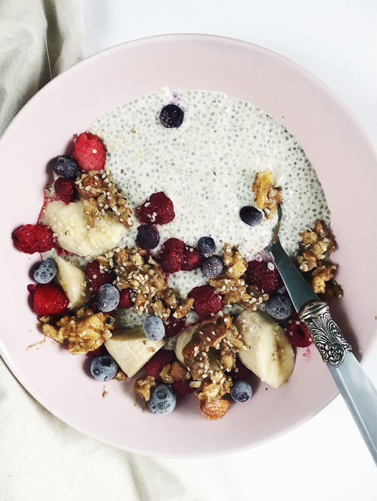 Chia puding u lješnjakovom mlijeku sa voćem i granolom od oraha